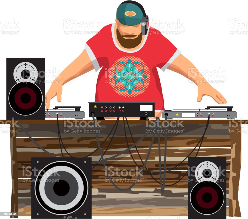 Summer party: DJ and his equipment, dance music vector art illustration