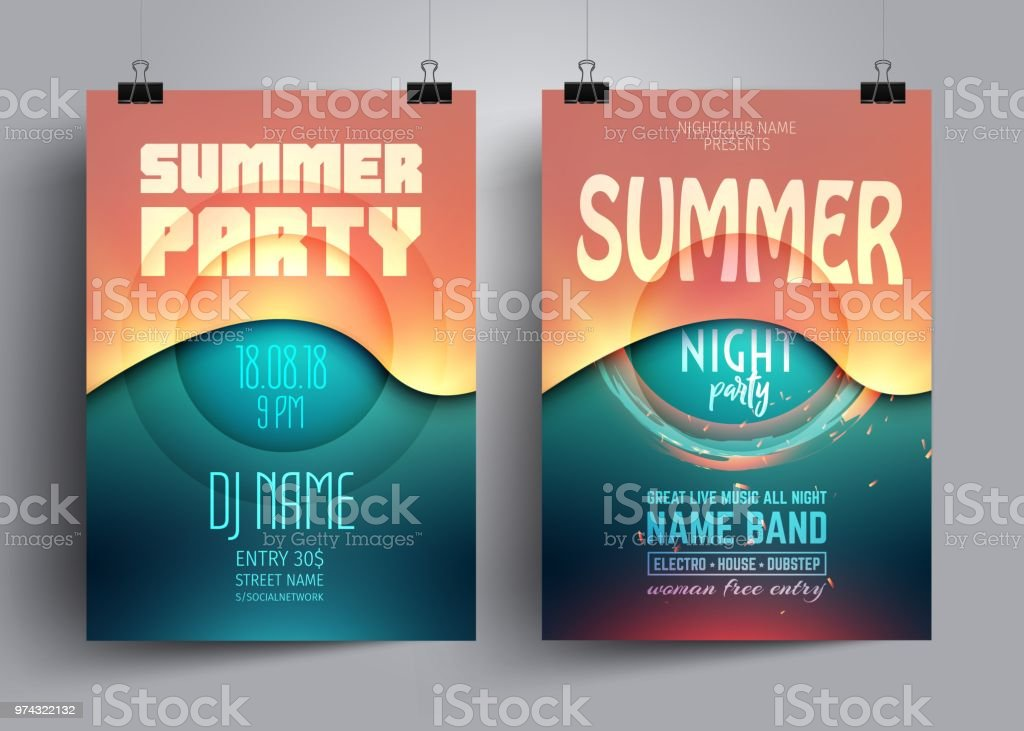 Summer party flyer or poster layout template with background from colorful waves. vector art illustration
