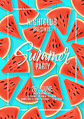 Summer party flyer template. Top view on watermelon's pieces on blue wooden texture. Vector illustration. Invitation to nightclub.
