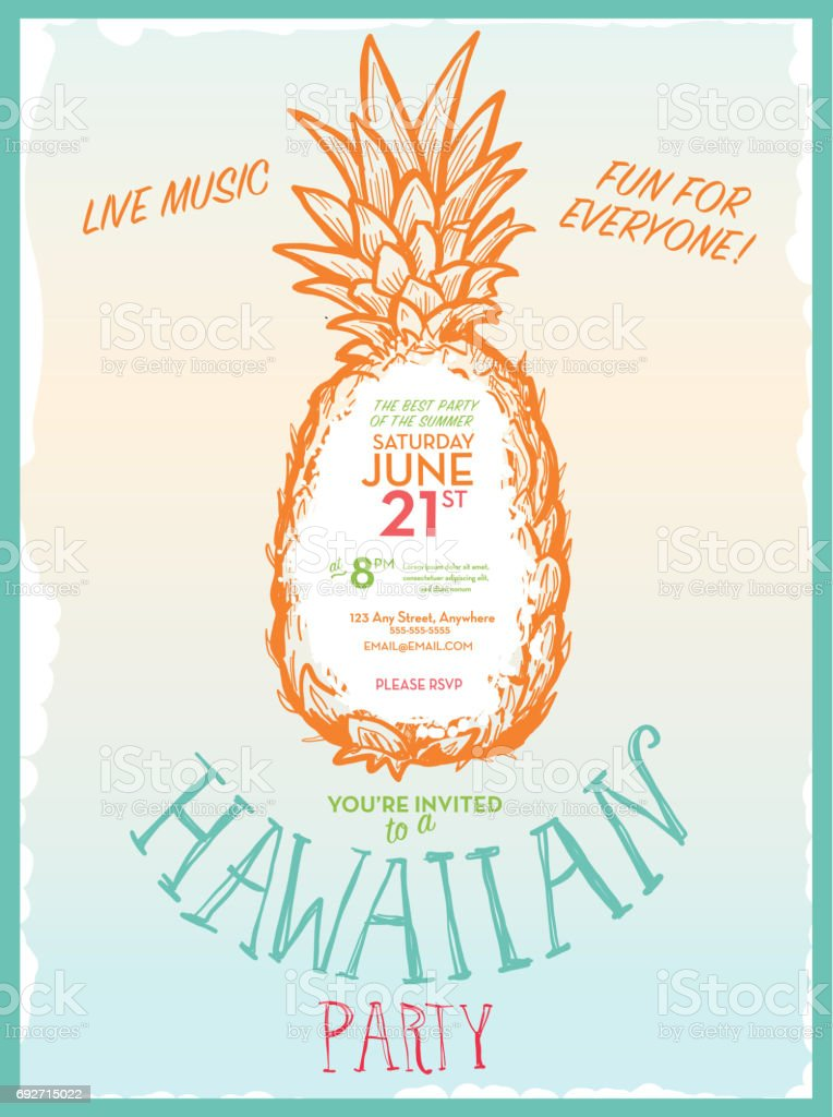 パイナップルと夏パーティー招待状のデザイン テンプレート お祝いの