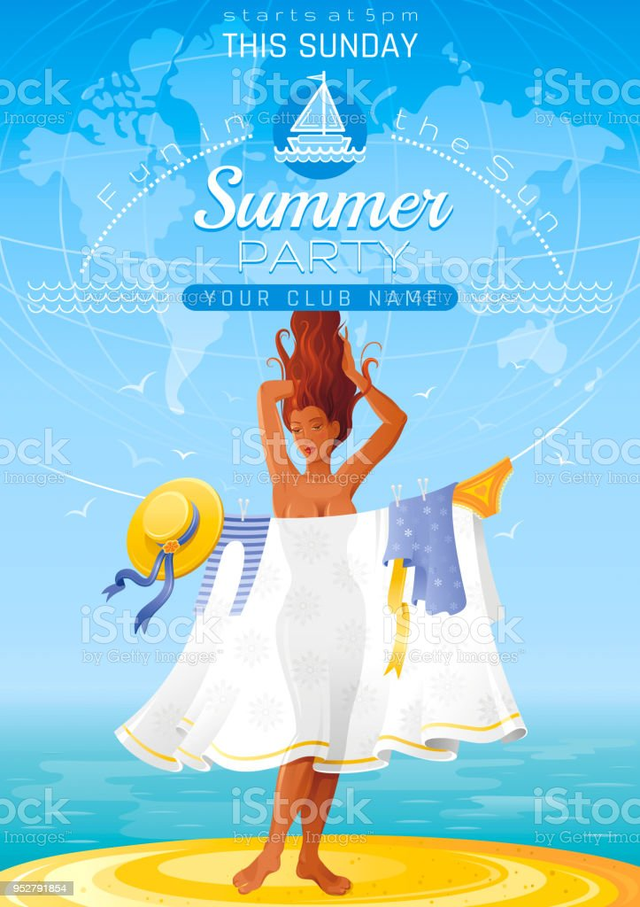 Summer Party Invitation Flyer Design Sea Beach Landscape Background ...