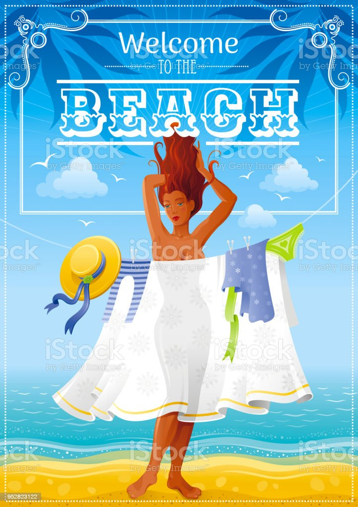 Summer Party Invitation Flyer Design Sea Beach Sand Landscape ...