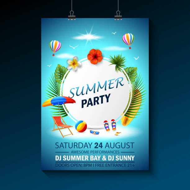 summer party invitation template invitation. beach party invitation with umbrellas - summer background stock illustrations