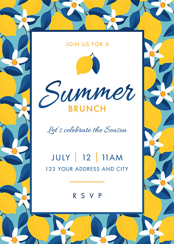 Summer Party Invitation Template.