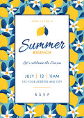 Summer Party invitation. Colorful fruit pattern of lemons on blue background. Stock illustration