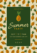 Summer Party invitation. Colorful fruit pattern of pineapple on background. Stock illustration