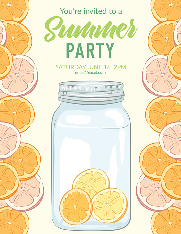 Summer Party Invitation Template With Citrus