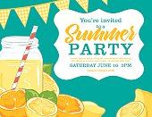Summer Party Invitation Template With lemonade, lemons, Oranges.
