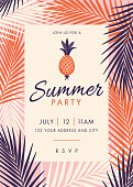 Summer Party Invitation Template with palm leaves and exotic plants. Stock illustration