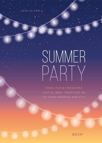 Summer Party Invitation Template with String Lights.