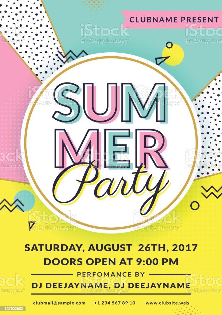Summer party invitation. Vector flyer template. vector art illustration