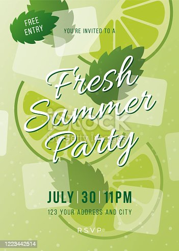 istock Summer Party invitation. 1223442514