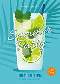 Summer Party invitation. Tropical background with mojito cocktail and palm leaves. Stock illustration