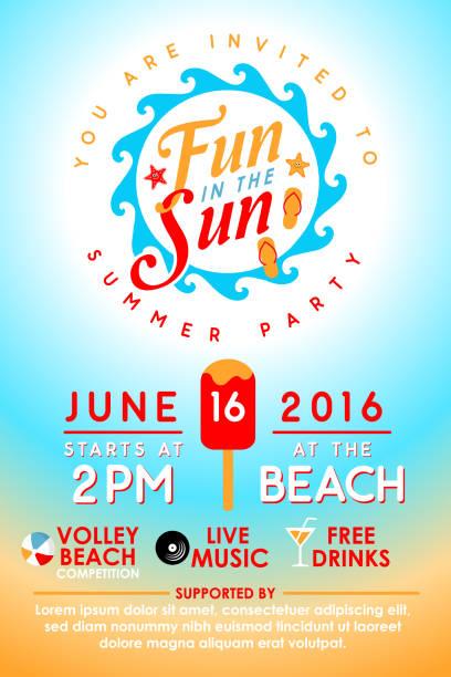 ilustrações, clipart, desenhos animados e ícones de summer party convite - reunião encontro social