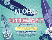 Aloha Hawaiian Party horizontal Invitation template.  The summer party invitation is on a green with swirly designed background.  There is three partial surf boards and hibiscus flowers around the outer edges with the party invite text written in the middle.