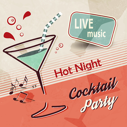 Summer party invitation with cocktail and music notes in retro poster style