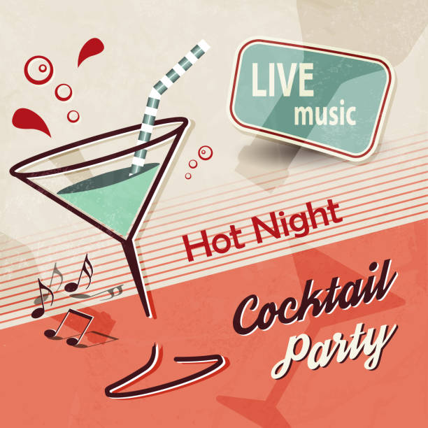 Summer party invitation with cocktail and music notes in retro poster style Flyer template in vintage design martini glass stock illustrations