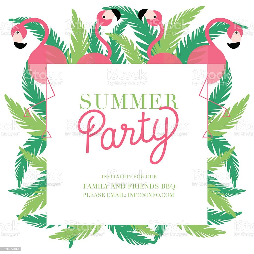 Invitation Party Wedding Free Vector Graphic On Pixabay: Summer Party Invitation With Four Pink Flamingos And Green