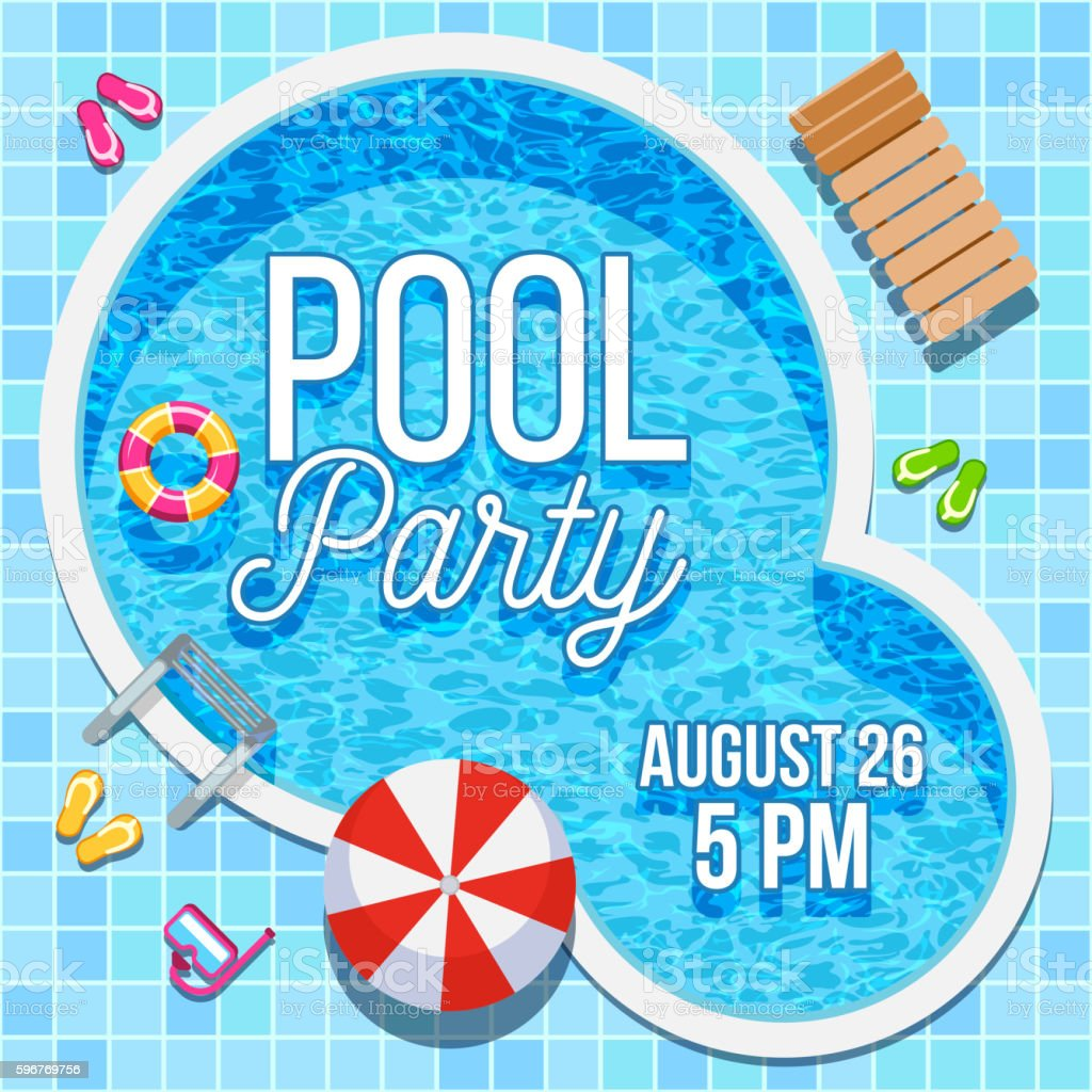 Summer party invitation with swimming pool vector template vector art illustration