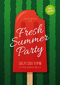 Summer Party Invitation with watermelon background. - Illustration