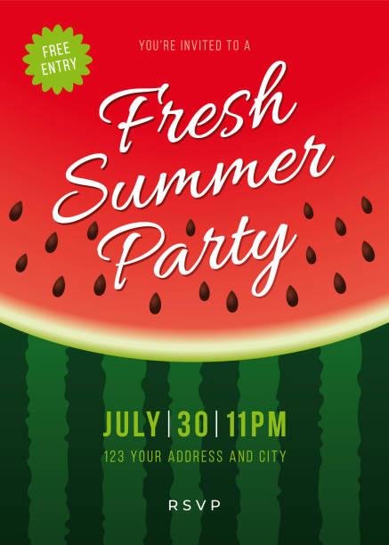 illustrazioni stock, clip art, cartoni animati e icone di tendenza di summer party invitation with watermelon background. - tavola imbandita