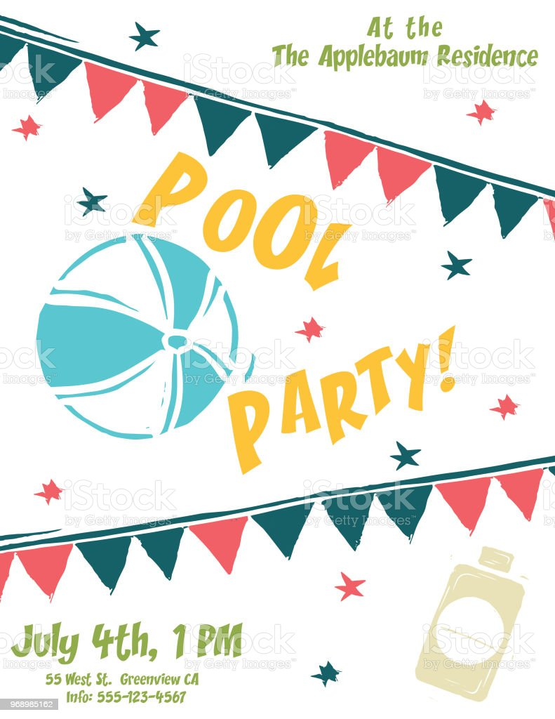 Summer Party Invites Stock Vector Art & More Images of Beach ...