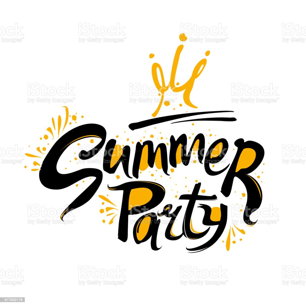 Summer Party Logo. Handwritten font and crown vector pattern. vector art illustration