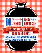 Summer party picnic and barbecue invitation red checker tablecloth background