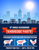 Summer party picnic and barbecue invitation with city skyline background