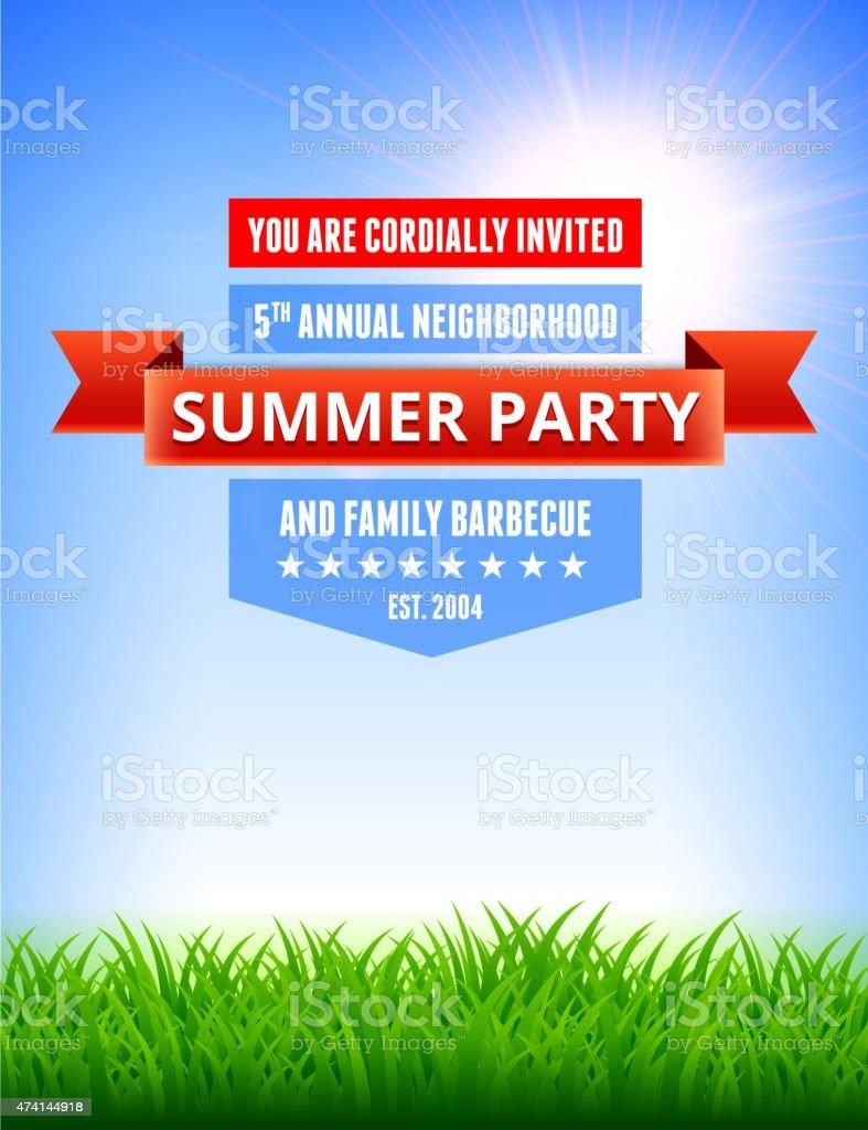 Summer party pique-nique et barbecue invitation avec gazon vert bac - Illustration vectorielle