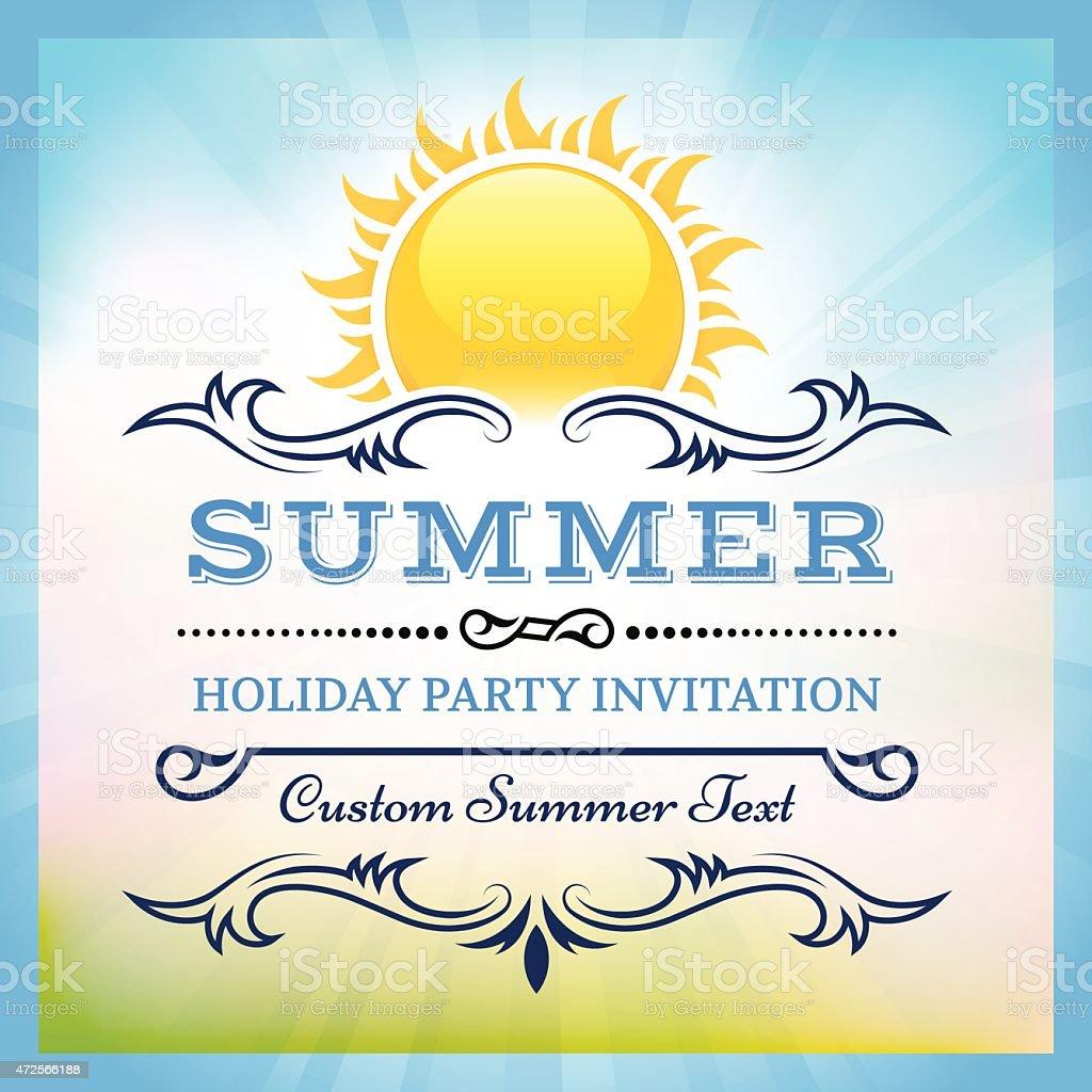 Summer party pique-nique avec les rayons du soleil vecteur invitation vintage dans le dos - Illustration vectorielle