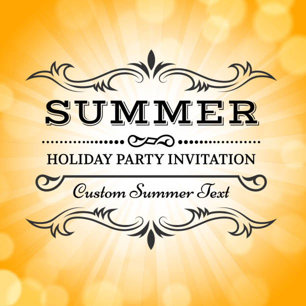 summer party picnic vintage invitation with sunlight vector back - reunion stock illustrations, clip art, cartoons, & icons