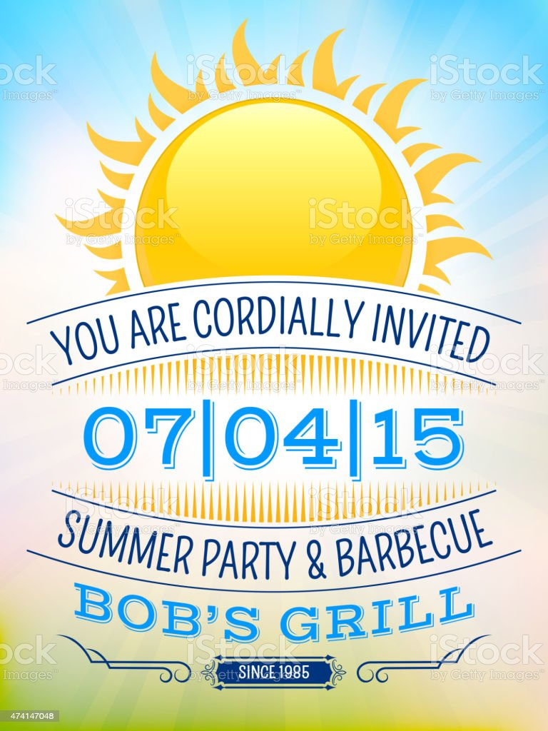 Summer party picnic vintage invitation with sunlight vector back summer party picnic vintage invitation with sunlight vector back royalty free summer party picnic vintage stopboris Images