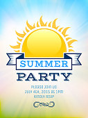 istock Summer party picnic vintage invitation with sunlight vector back 475429274