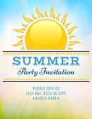 Summer party picnic vintage invitation with sunlight vector background