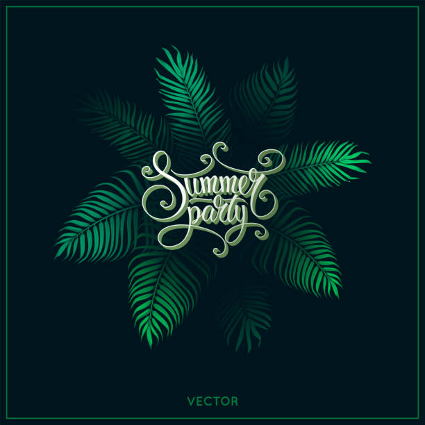 summer party poster design template with green exotic tropical palm leaves and text lettering on black background. vintage vector illustration. jungle leaf and script font. flyer. eps 10. - jungle stock illustrations
