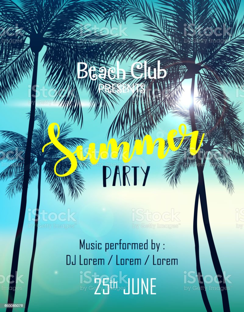 summer party poster design template with palm trees stock vector