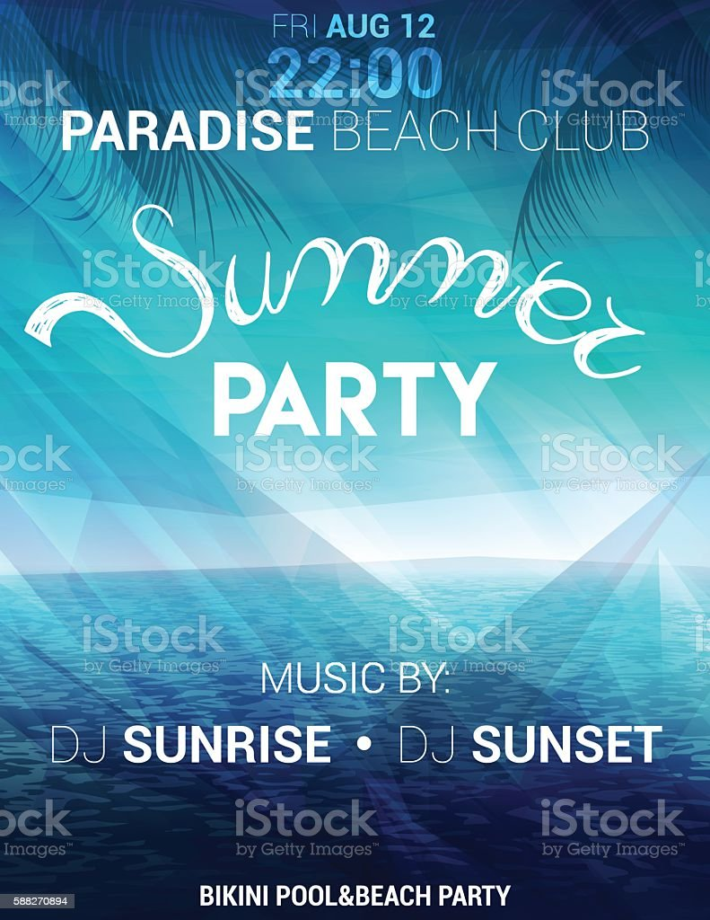 Summer party poster, flyer with seascape on a polygonal background vector art illustration