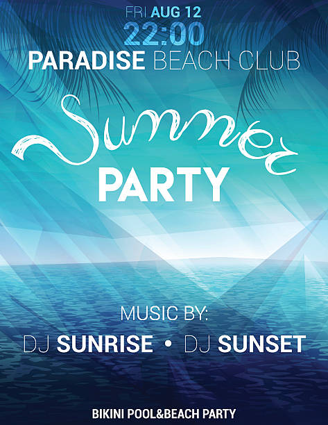 summer party poster, flyer with seascape on a polygonal background - abendveranstaltung stock-grafiken, -clipart, -cartoons und -symbole