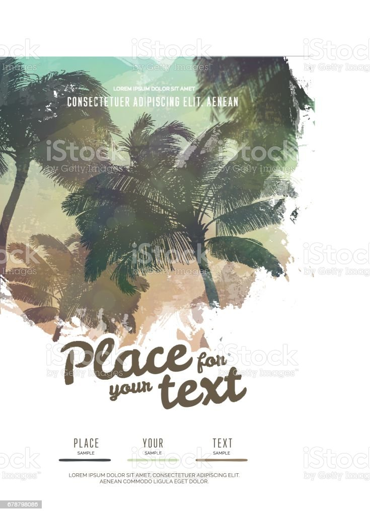 Summer party poster or flyer design template with palm trees silhouettes. Modern style vector art illustration