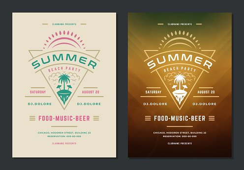 Summer party poster or flyer retro design template