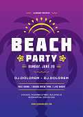 Summer party poster or flyer retro design template. Night club event typography. Vector illustration.
