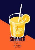Summer party poster template background with isometric of a glass of orange juice. Graphic design element can be use for invitation brochure, print, banner, leaflet, flyer, vector illustration