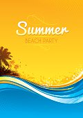 Invitation for a summer themed bbq beach/pool party