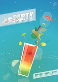 Party poster with text and coctail glass. Eps10 - This illustration contains transparent and blending mode objects. Hi-res JPG versions without texts are included in zip file.