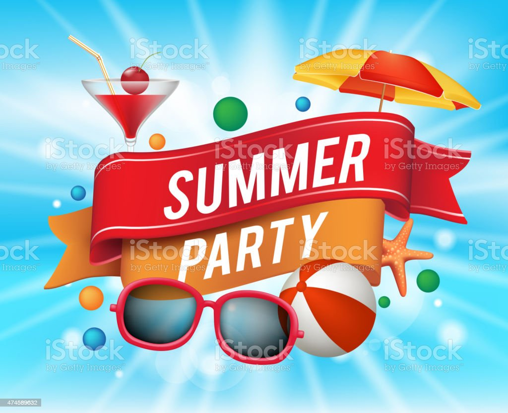 Summer Party Poster with Colorful Elements vector art illustration
