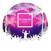 Summer party poster with crowd design