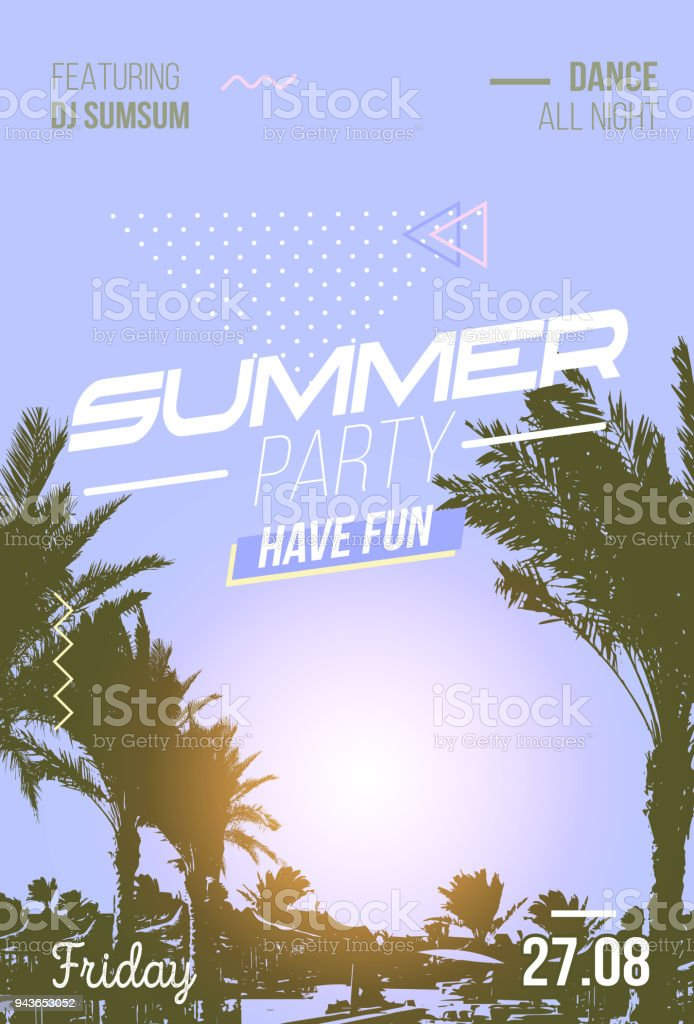 summer party poster with old photo effect palm trees and sunshine