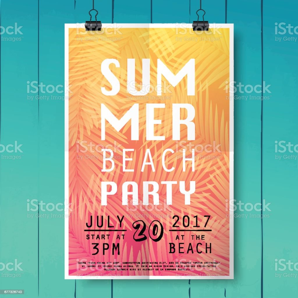 Summer party poster with palm leaf and lettering on wood texture background. vector art illustration