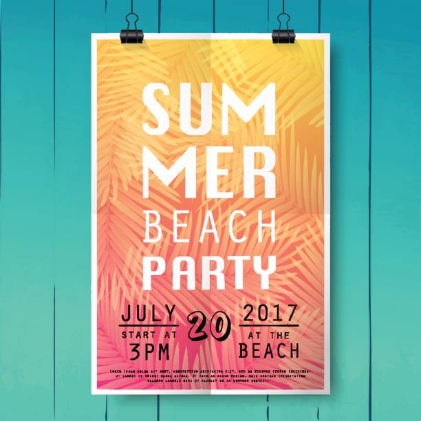 Summer party poster with palm leaf and lettering on wood texture background. Summer party poster with palm leaf and lettering on wood texture background. pool party stock illustrations